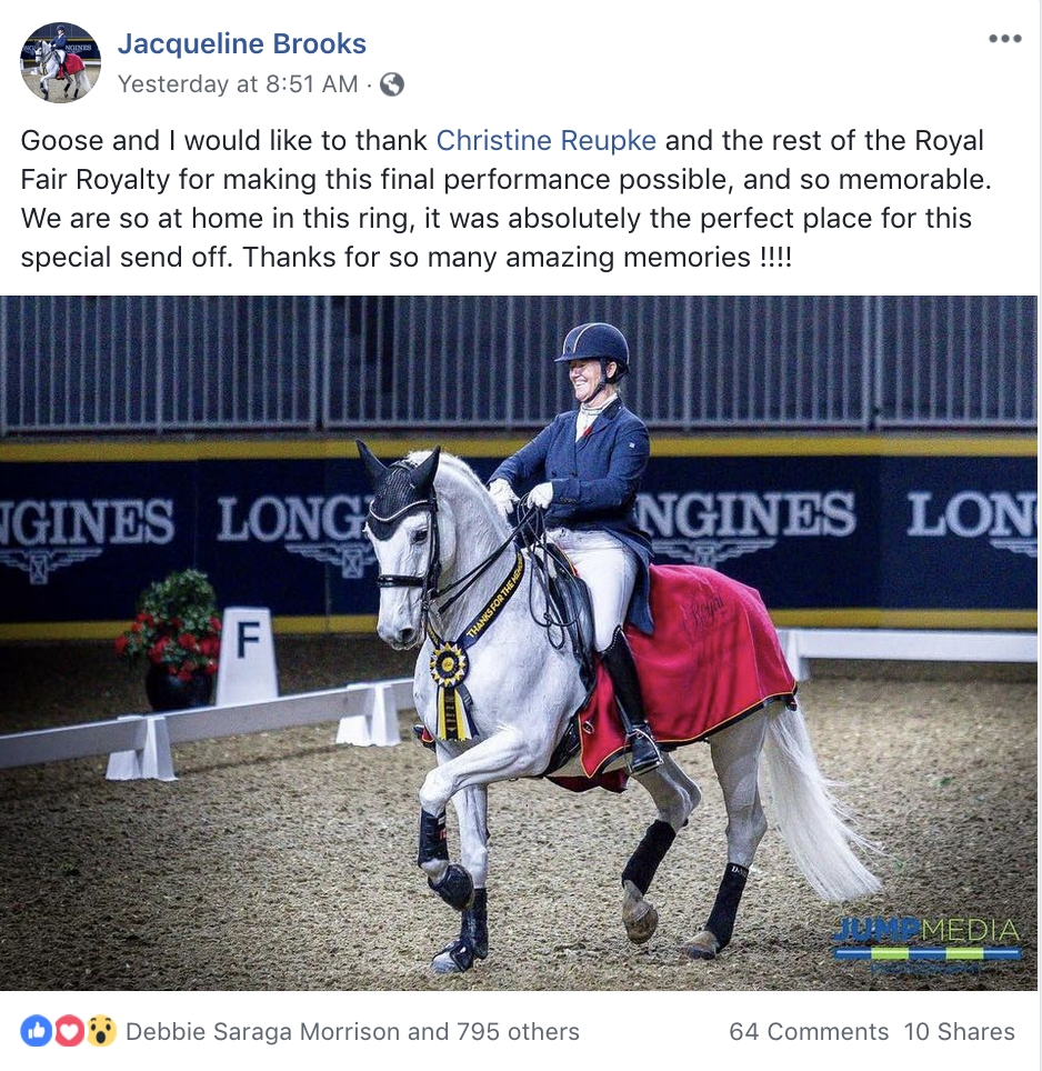 <b>Royal Horse Show - Jacquie Brooks and D Niro - Facebook</b><br>Tuesday, November 6, 2018